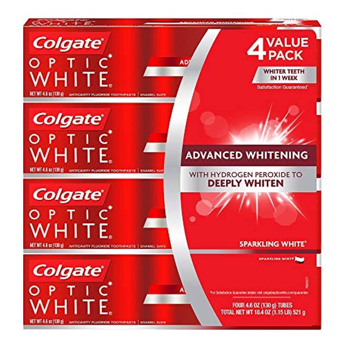 支店鯨フロント海外直送品 コルゲートオプティックホワイトスパークリングホワイト 歯磨き粉 Colgate Optic White Sparkling White Toothpaste, Sparkling Mint (4.6 oz, 5 pk.) 130gx5本