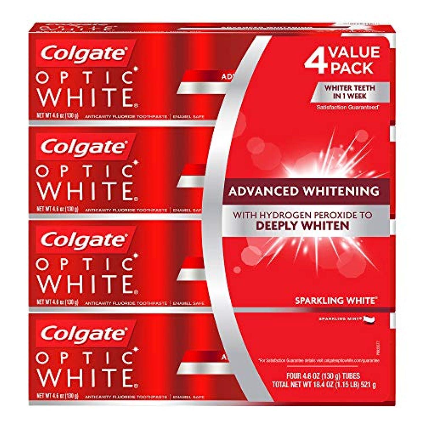 持続的独創的ダウン海外直送品 コルゲートオプティックホワイトスパークリングホワイト 歯磨き粉 Colgate Optic White Sparkling White Toothpaste, Sparkling Mint (4.6 oz,...