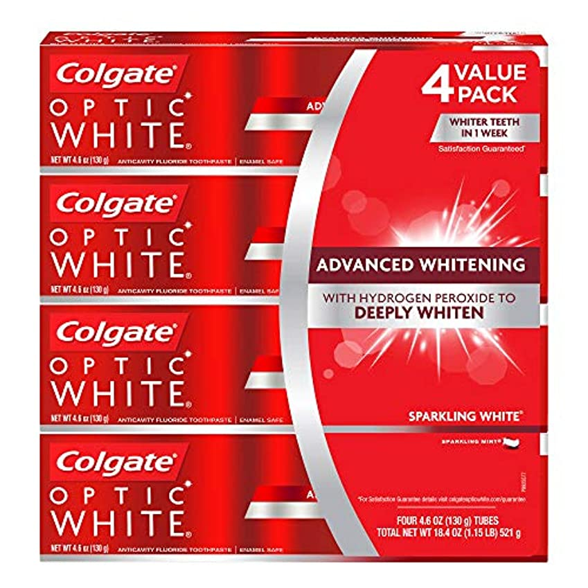 とにかく取り戻す円周海外直送品 コルゲートオプティックホワイトスパークリングホワイト 歯磨き粉 Colgate Optic White Sparkling White Toothpaste, Sparkling Mint (4.6 oz,...