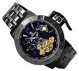 テンプ スケルトン 自動巻き 腕時計 ガンメタルブラック×ブルー サン&ムーン搭載 スワロフスキー 黒 青