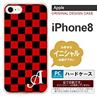 iPhone8 スマホケース ケース アイフォン8 イニシャル スクエア 黒×赤 nk-ip8-763ini Q