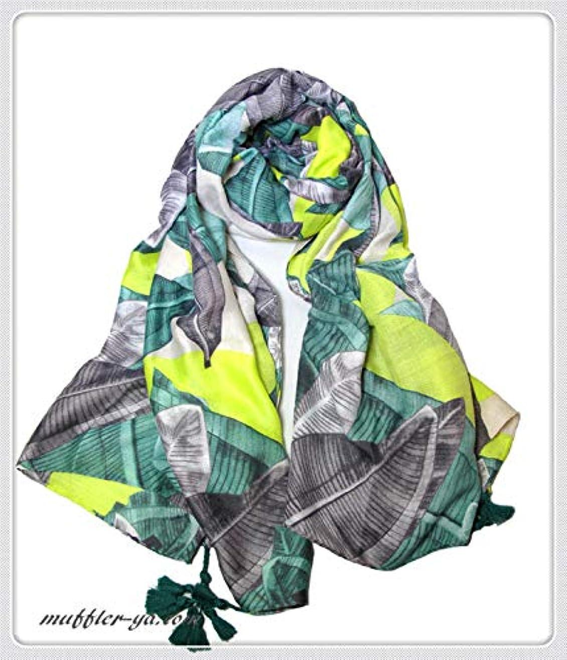 フライトテナント復活する大判タッセル付き葉っぱ柄入りストール/スカーフ 92502