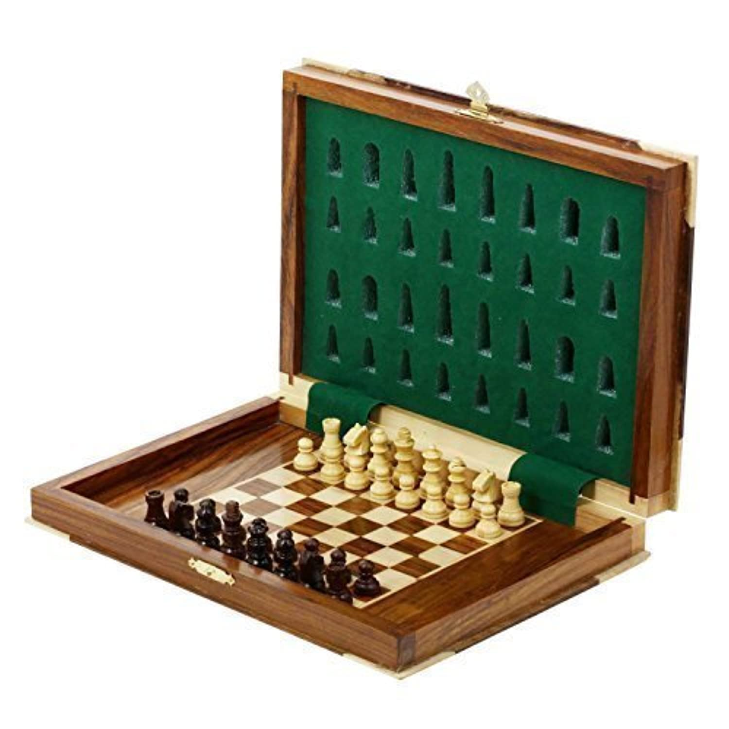 Unique Chess Wood Magnetic Pieces Board Game Book Shape Wooden Box [並行輸入品]