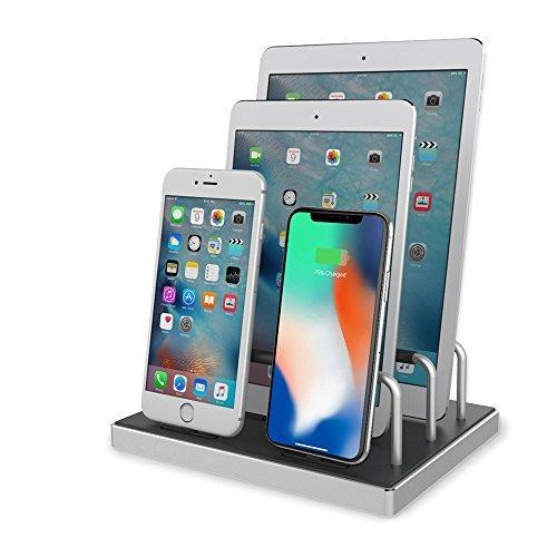 iphone 充電スタンド, ipad 充電スタンド Reflying【Apple MFi認証取得】4ポート同時充電 iphone ドック 充電ステーション USB 充電スタンド iPhone X, iPhone 8, 8 Plus, 7, 7 Plus, iPad,iPad Pro,Airpods対応 (シルバー)