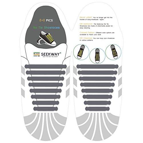 SEEKWAY 靴紐 結ばない ゴム 靴ひも 伸縮 靴紐 メンズ レディース用 ほとけない 靴ひも ほどけない 16pcs 10カラー NTS001 (グレー)