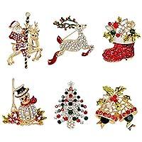Gaoominy パーティーの装飾ギフト用クリスマスブローチ6個クリスタルフェスティバルクリスマスブローチピン