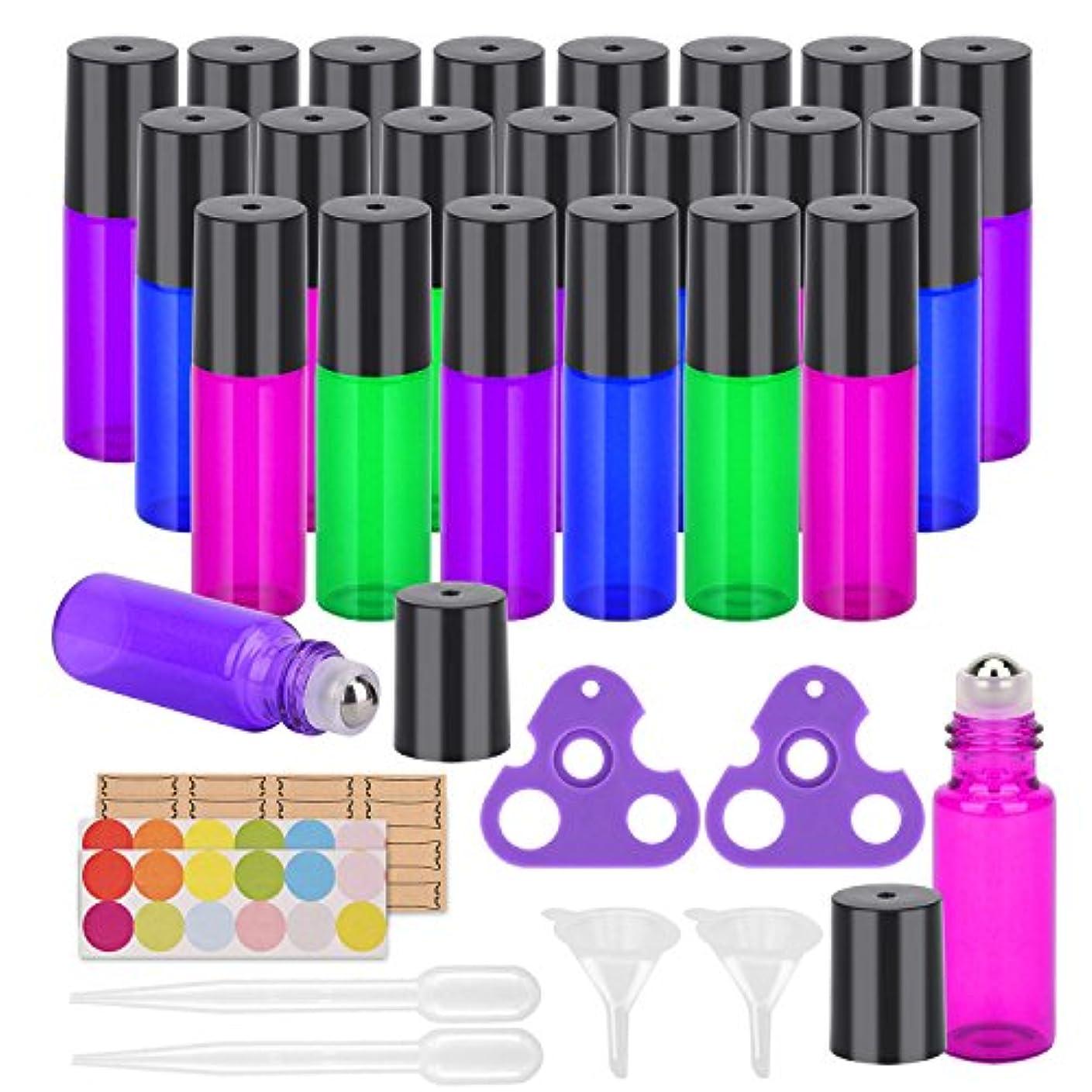 同等の磨かれたポーチEasytle エッセンシャルオイル 用 ローラーボールによって精油ローラーボトル ボトル 上に転がります 24パック マルチカラー混色虹色カラー仕分け