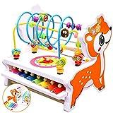 Jiudam 音楽おもちゃ 子供 パーカッション セット 赤ちゃん おもちゃ ビーズコースター ルーピング 早期開発 木製 知育玩具 男の子 女の子 誕生日のプレゼント オクターブ ノッキング ピアノ 多機能 楽器おもちゃ