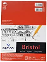 Canson Foundation Series Bristol Paper Pad, Heavyweight High Contrast Paper for Pencil, Vellum Finish, 100 Pound, 9 x 12 Inch, Bright White, 15 Sheets [並行輸入品]
