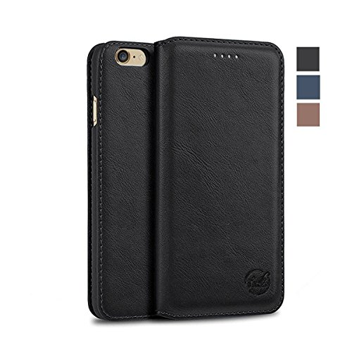 Tindon iPhone6Splus/6plusケース 手帳型 レザー 超薄 財布型 耐衝撃 カード収納 マグネット式 (ブラック)