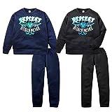 (ネイビー/160cm)子供服 男の子 パジャマ 上下組 トレーナースーツ 長袖 裏起毛 ロゴプリント 裾ゴムパンツ 男児 ジュニア