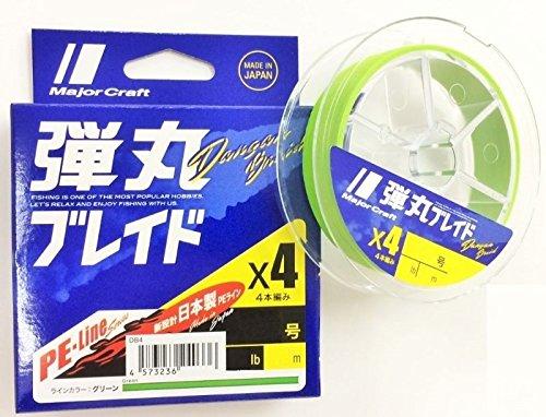 メジャークラフト PEライン 弾丸ブレイド 4本編み 単色 DB4-150/0.6GR グリーン 150M/0.6号