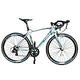 TRINX(トリンクス) 【ロードバイク】超軽量アルミフレーム 700c デュアルコントロール SHIMANO 14SPEED ディープCNCアルミホイール採用の最新モデル ロードレーサー SWIFT1.0ホワイト/ブルー480mm SWIFT1.0 ホワイト/ブルー