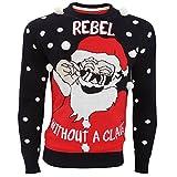 (ブレーブ・ソウル) Brave Soul メンズ クリスマス 3Dスノー サンタクロースデザイン クリスマスセーター ニットセーター トップス 男性用 (S) (ネイビー/レッド/ホワイト)