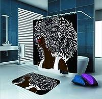SARA NELL シャワーカーテン セクシー アフリカ系アメリカ人 女性 レターアート 防水 ポリエステル生地 シャワーカーテン (72インチ x 72インチ) 12個セット フックとバスマットラグ付き (23.6インチ x 15.7インチ) バスルーム用 2セット