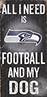 "Seattle Seahawks木製サイン – Football and Dog 6 "" x12 """