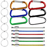 SENHAI 6 Pcs Wire Keychains & 6 Pcs D Shape Aluminum Carabiners with Silver Metal Flat Split Key Rings, Spring Snap Clips Hook Buckle for Outdoors Camping, Traveling, Fishing