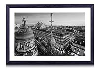 パリ、フランス、グランドオペラ、建物、都市、ライト、夜 - 木製の黒色のフォトフレーム - 壁の絵 壁掛け ソファの背景絵画 壁アート写真の装飾画の壁画 - 白黒 - (40cmx30cm)