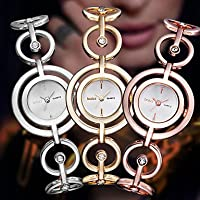 Luxury Rose Gold Silver Fashion Smart Women Lady Dressed Wrist Quartz Bracelet Bangle Watch