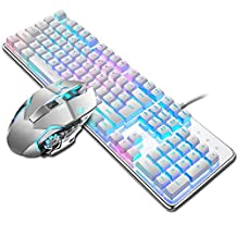 ZWFZ Professional Gaming Keyboard And Mouse USB Wired Punk Mechanical 104 Keys Round Keycap R-G-B Backlit Game Keyboards For PC (Color : A6)