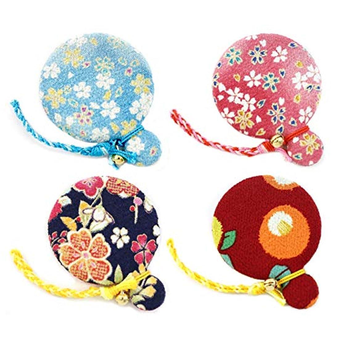 ZOON(ズーン) 花ちりめん コンパクトミラー お得なセット4(4個入) 和柄 着物 ちりめん 生地 布製 まる鏡 日本製 お土産 セット4(空色、薄紅、紺、赤椿)