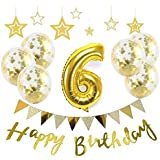 【Big Hashi 】お子様誕生日パーティー HAPPY BIRTHDAY アルミニウム 数字(6)バルーンゴールド 誕生日 飾り付け セット (js-j06)