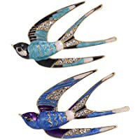 HOMYL Pack of 2 Crystal Swallow Animal Brooch Pin Women Costume Jewelry Clothes Decor