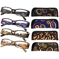 Eyekepper 4-Pack Beautiful Colors Spring Hinge Rectangular Reading Glasses +1.25