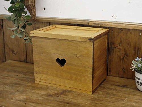 カントリーボックス 木製ひのき 木製蓋の収納ボックス ハート 収納箱 サニタリーボックス おもちゃ箱 アンティークブラウン 受注製作