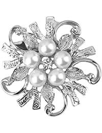 ファッションの女性ブライダル結婚式の花真珠のブローチピンの贈り物 - シルバー