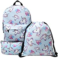 Hellathund Unicorn Backpack 3pcs/set Print Rainbow Unicorn Backpack School College Bag for Teens Unisex Students