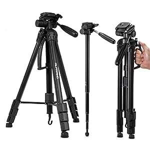 ALPRANG 三脚・一脚 カメラ 4段 伸縮式 中型 3WAY雲台 アルミ製 収納専用ケース付き折り畳み可能 撮影三脚