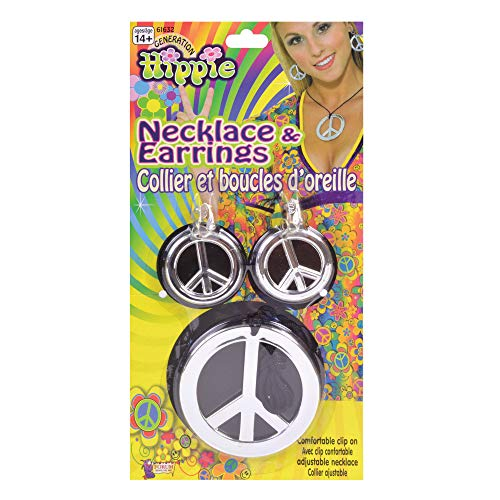 Bristol Novelty Silver Peace Sign Necklace & Earri...