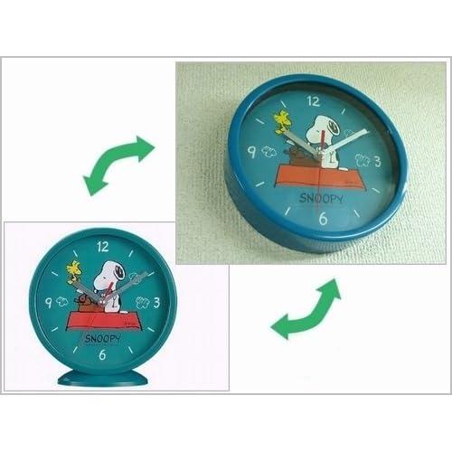SNOOPY スヌーピー 置時計 にも、掛時計 にもなる 2WAYアナログクロック グリーン [並行輸入品]