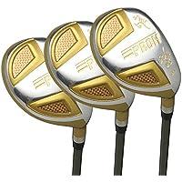 Japan Epron TRG Hybrids Golf Club Wood Set + Leather Cover(18,21,24 Degree Loft,Regular Flex,Grip Standard,Pack of 3)