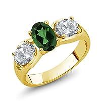 Gem Stone King 1.8カラット 天然石 ミスティックトパーズ (エメラルドグリーン) 天然 トパーズ (無色透明) シルバー925 イエローゴールドコーティング 指輪 リング