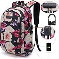 Tzowla Business Laptop Backpack Water Resistant Anti-Theft College Backpack with USB Charging Port and Lock 15.6 Inch Computer Backpacks for Women Girls, Casual Hiking Travel Daypack (Flower)