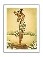 トロピカル収穫 - フルーツのバスケットを保持しているハワイの女 - によって作成された ギル c.1940s - アートポスター - 46cm x 61cm