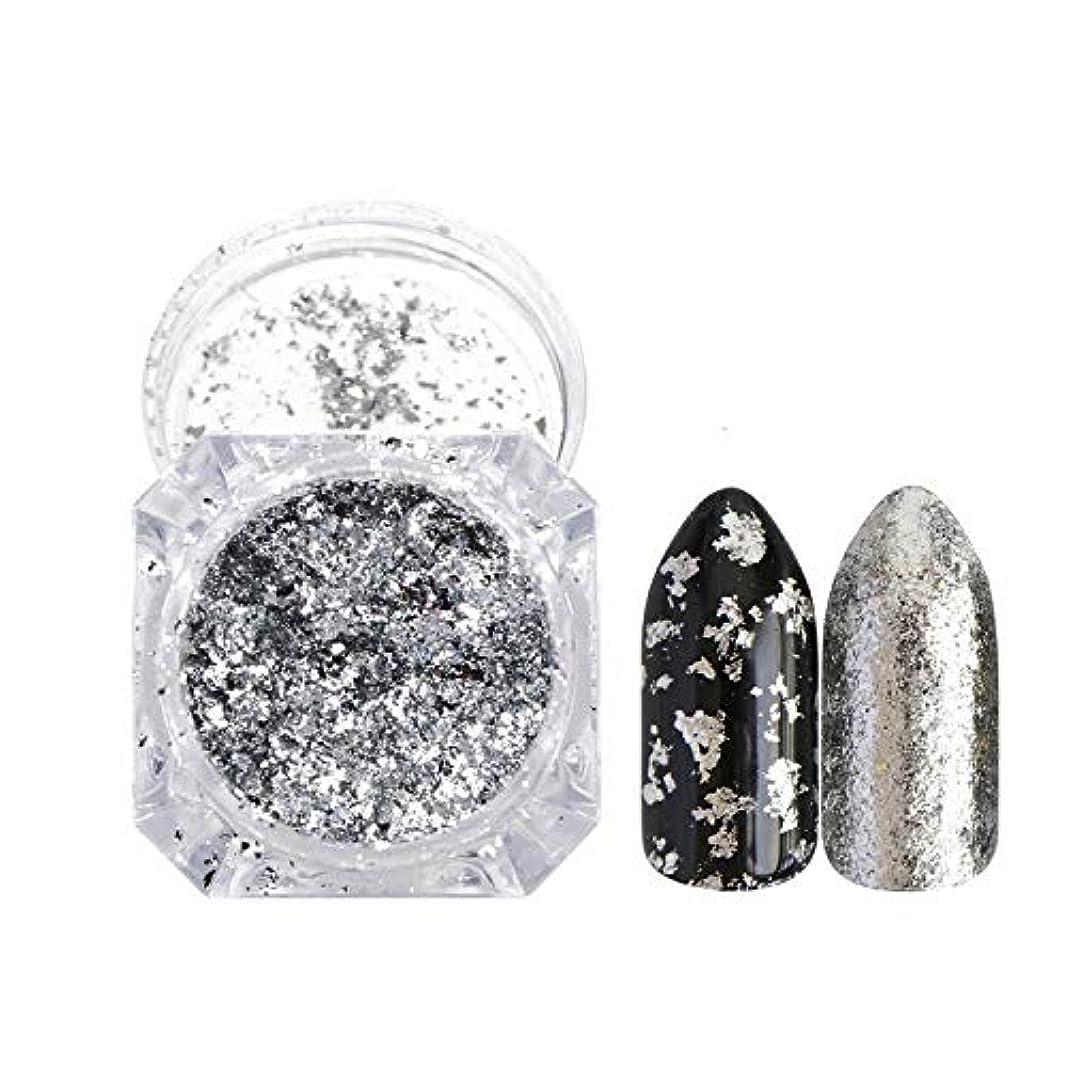 ベーカリーリーガンラフ新しいネイルDIYネイルホイルシャイニーパウダーツール飾り,Silver