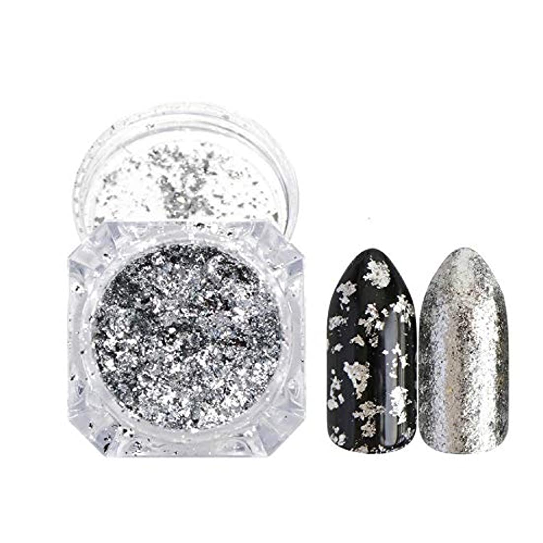 競うフォージヘッドレス新しいネイルDIYネイルホイルシャイニーパウダーツール飾り,Silver