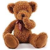 クリスマスプレゼント・shy bear マグネット熊・マグネットぬいぐるみ・可愛いくま/抱き枕/クマ縫い包み/クマぬいぐるみ テディベア!クリスマス プレゼント/イベント/お祝い/ふわふわぬいぐるみ・マグネット・ソフト・可愛いぬいぐるみ (50cm, ダークブラウン)