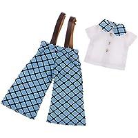 SONONIA  ファッション チェック柄  サスペンダー  パンツ  シャツ  12インチブライスドール用