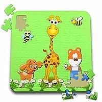 リナピロ–キッズ–犬、キリン、Teddy Bear。子供用飾ります。キュートコンポジション。明るいグリーン。–10x 10インチパズル( P。_ 243279_ 2)