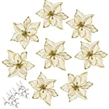 AmaJOY 12pcs Glitter Poinsettia Christmas Tree Ornament Artificial Wedding Christmas Flowers XMAS Tree Wreaths Decor Ornament
