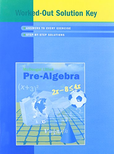 Download Pre-Algebra: Worked-Out Solution Key 0618280448