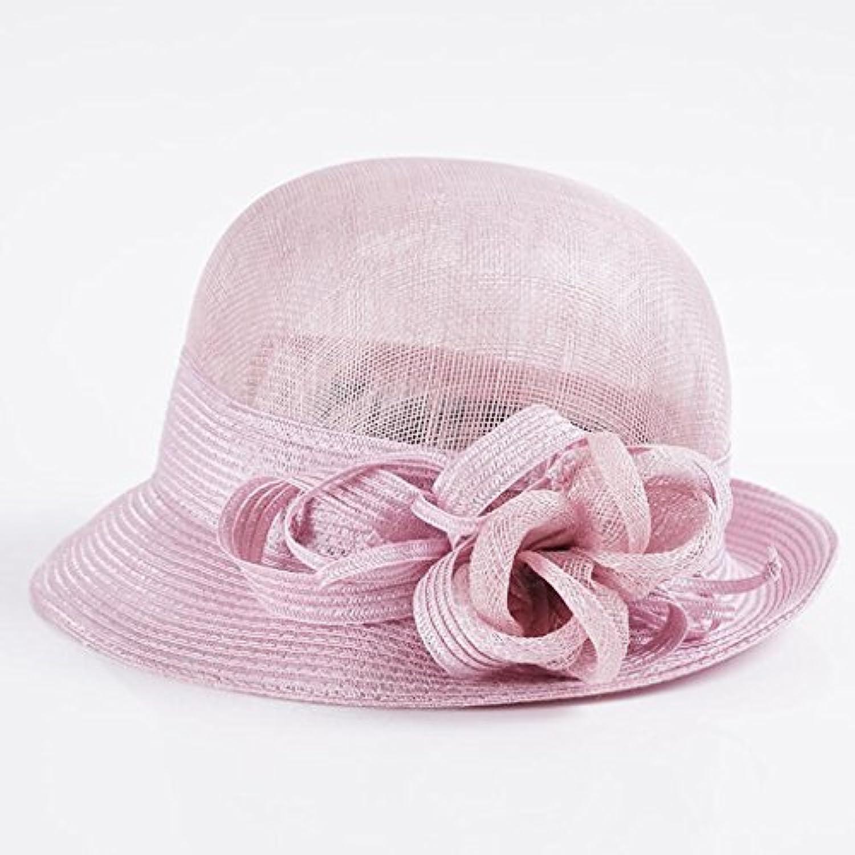 YXI 帽子女性の春と夏のエレガントな麻キャップハットドームサンプロテクションバイザー圧着Sunhat (色 : Fat pink)