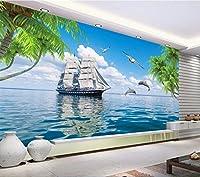 Weaeo カスタム壁画3D部屋の壁紙帆船のイルカは、家の装飾の絵画をジャンプ壁3D壁の壁画の壁紙-400X280Cm