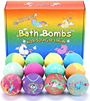 Bath Bombs for Kids with Toys Inside for Girls Boys - 12 Pcs XXL Large Size Gift Set, Surprise Jewelry Unicorn