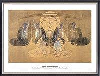 ポスター マクドナルド Moonlit Garden 1892-99 額装品 マッキアフレーム-S(ブラックシルバー)