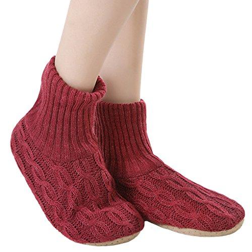 レディース靴下 ルームソックス 編み物 室内履き 自宅仕事用 ニット 暖かい もこもこ 寒気防止 両足温める 極厚地 柔軟 滑り止めクッション シンプル 冬 ソックス くつした ガールズ 女 女性用 成人 ジュニア 来客用 レッド